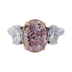 David Rosenberg 2.67 Carat Oval Fancy Pink Purple GIA Diamond Engagement Ring