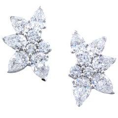 David Rosenberg 2.85 Round  Pear Shape 18K White Gold Diamond Cluster Earring
