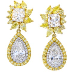 David Rosenberg 2.98 Carat Pear & Cushion Shape White/Yellow Diamond Earrings