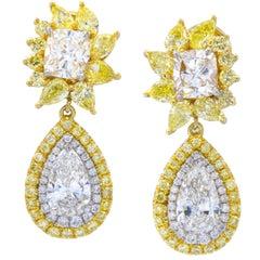 David Rosenberg 2.98 Carat Pear or Cushion Shape White/Yellow Diamond Earrings