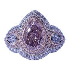 David Rosenberg 3 Ct Fancy Pink Pear GIA Three Stone Diamond Engagement Ring