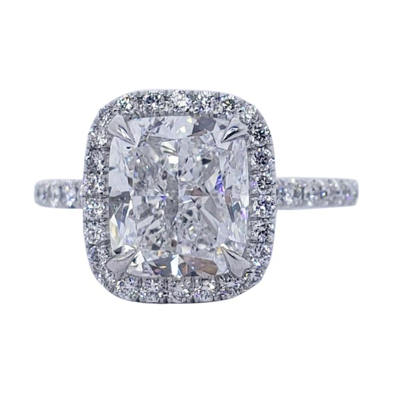 David Rosenberg 3.01 Carat Cushion Cut D/VS2 GIA Diamond Engagement Ring