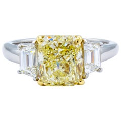 David Rosenberg 3.01 ct Cushion Fancy Light Yellow GIA Diamond Engagement Ring