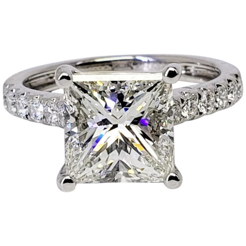 David Rosenberg 3.02 Carat Princess Cut J/VS1 GIA Diamond Engagement Ring