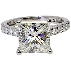 David Rosenberg 3.02 Carat Princess Cut J/VS1 GIA Diamond Engagement Ring