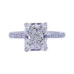 David Rosenberg 3.02 Carat Radiant Shape GIA Diamond Engagement Wedding Ring