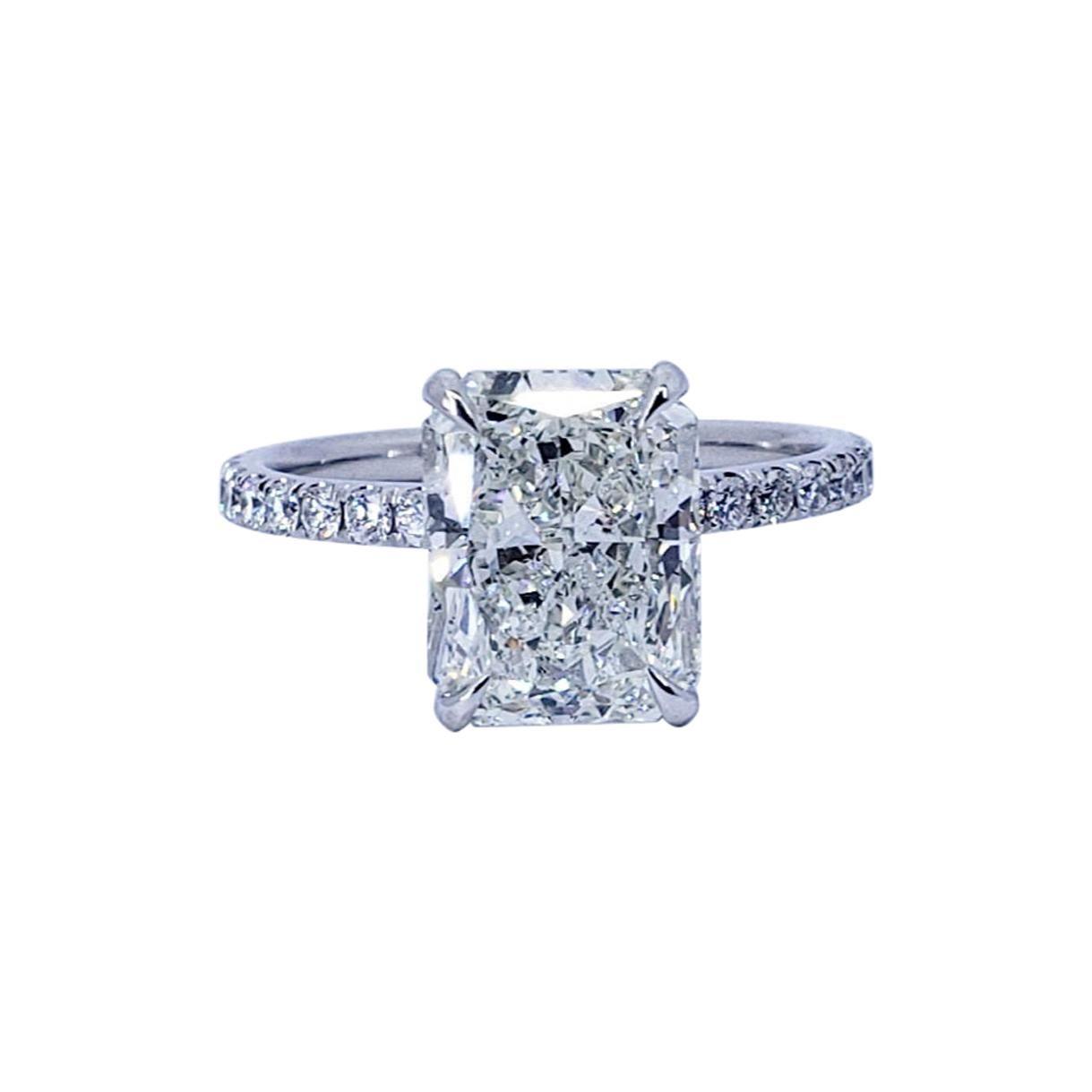 David Rosenberg 3.02 Radiant Cut I/SI2 GIA Diamond Engagement Ring