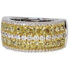 David Rosenberg 3.04 Carat Cushion Fancy Yellow Diamond Wedding Eternity Band