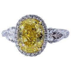 David Rosenberg 3.13 Carat Oval Fancy Vivid Yellow GIA Diamond Engagement Ring