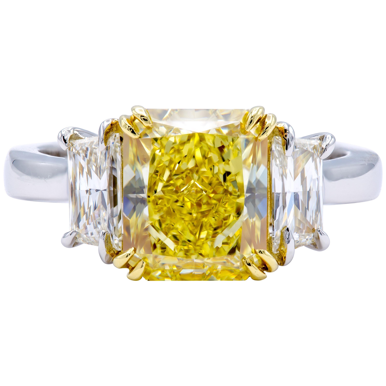 David Rosenberg 3.15 Carat Radiant Fancy Intense Yellow GIA Diamond Engagement