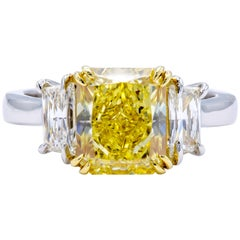 David Rosenberg 3.15 Carat Radiant Fancy Intense Yellow GIA Diamond Engagement