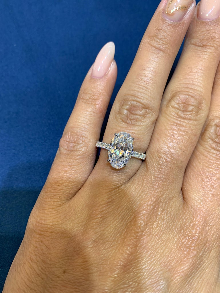 David Rosenberg 3.19 Carat Oval Shape D/SI2 GIA Diamond Engagement Wedding Ring For Sale 5