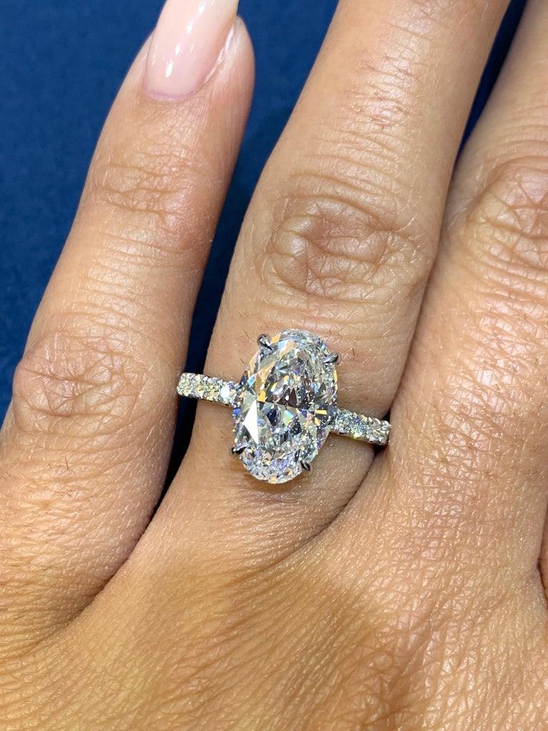 David Rosenberg 3.19 Carat Oval Shape D/SI2 GIA Diamond Engagement Wedding Ring For Sale 6