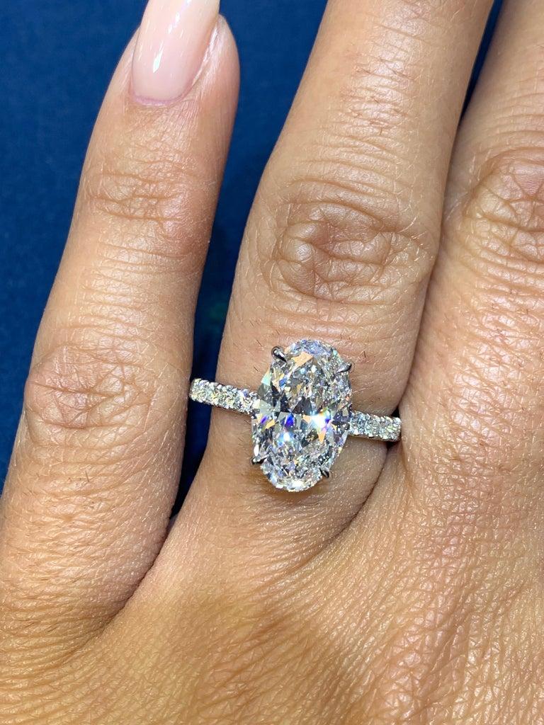 David Rosenberg 3.19 Carat Oval Shape D/SI2 GIA Diamond Engagement Wedding Ring For Sale 7