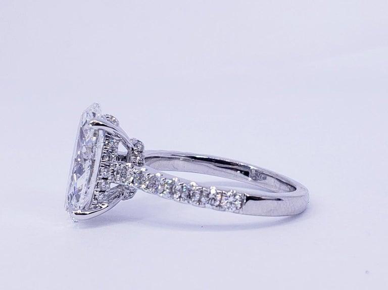 Modern David Rosenberg 3.19 Carat Oval Shape D/SI2 GIA Diamond Engagement Wedding Ring For Sale
