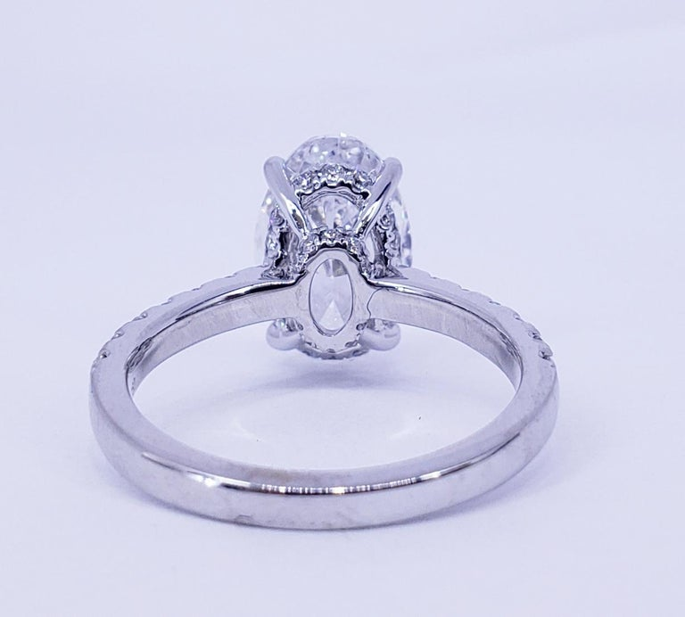 David Rosenberg 3.19 Carat Oval Shape D/SI2 GIA Diamond Engagement Wedding Ring In New Condition For Sale In Boca Raton, FL