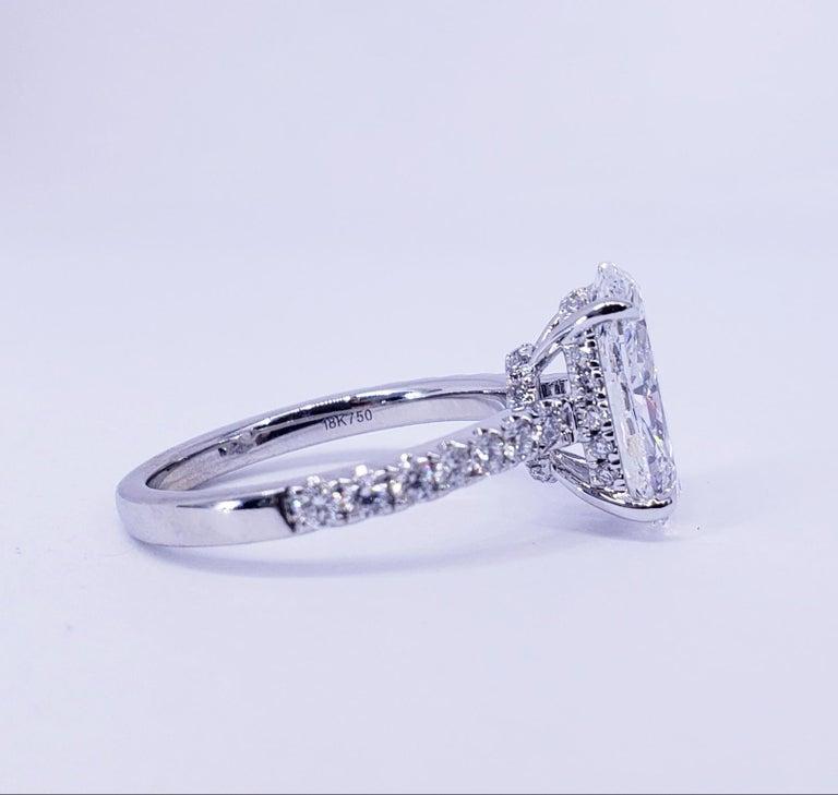 Women's David Rosenberg 3.19 Carat Oval Shape D/SI2 GIA Diamond Engagement Wedding Ring For Sale