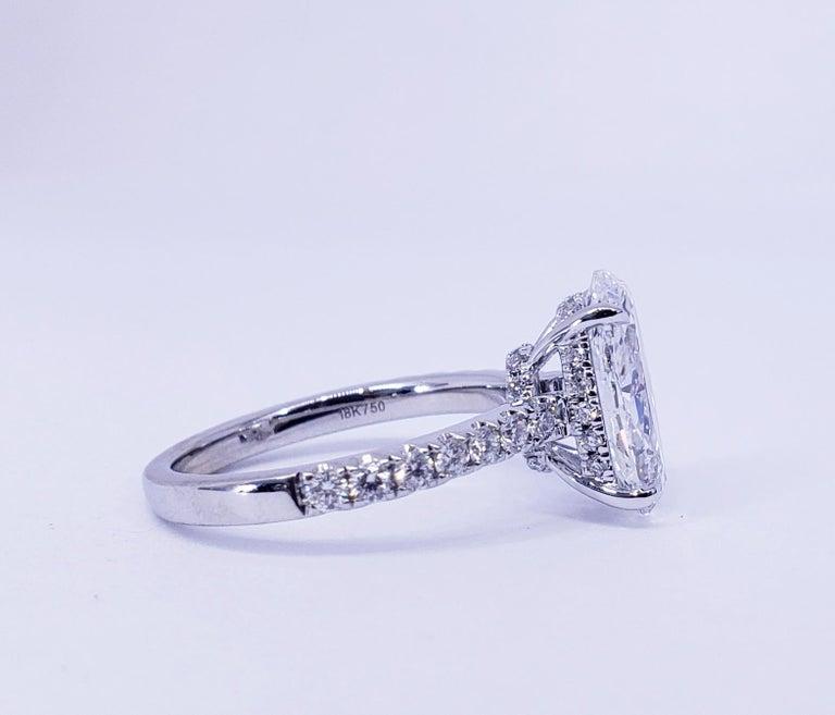 David Rosenberg 3.19 Carat Oval Shape D/SI2 GIA Diamond Engagement Wedding Ring For Sale 1