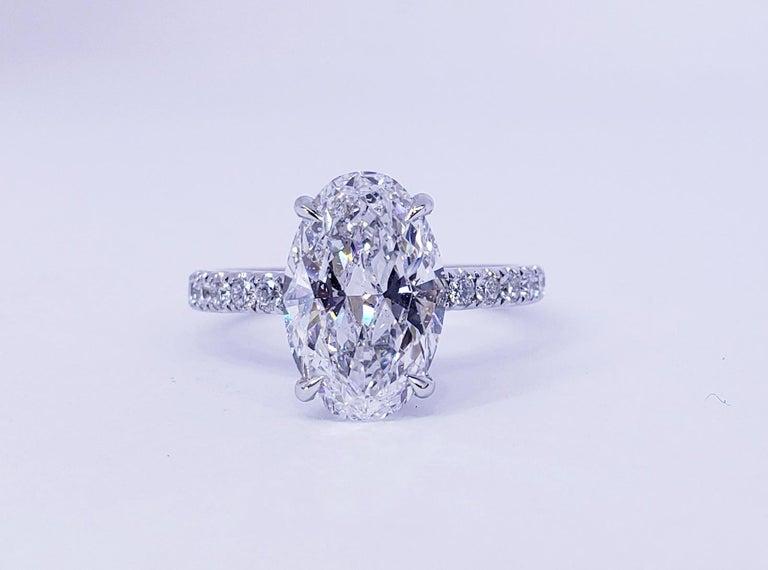 David Rosenberg 3.19 Carat Oval Shape D/SI2 GIA Diamond Engagement Wedding Ring For Sale 2