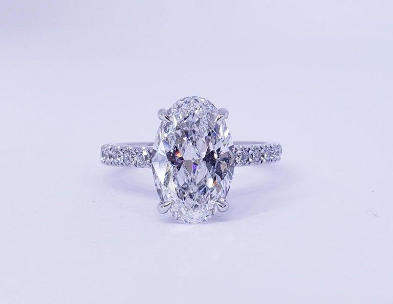 David Rosenberg 3.19 Carat Oval Shape D/SI2 GIA Diamond Engagement Wedding Ring For Sale 3
