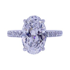 David Rosenberg 3.19 Carat Oval Shape D/SI2 GIA Diamond Engagement Wedding Ring