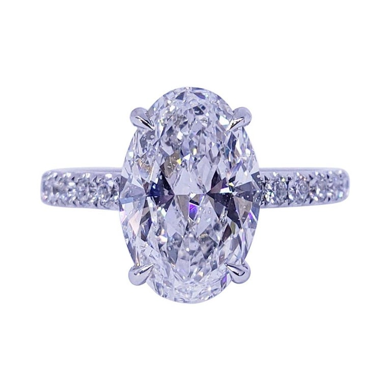 David Rosenberg 3.19 Carat Oval Shape D/SI2 GIA Diamond Engagement Wedding Ring For Sale