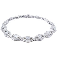 David Rosenberg 3.33 Carat Oval and Round Shape Platinum Diamond Tennis Bracelet