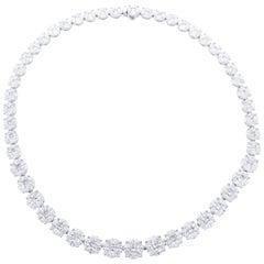 David Rosenberg 33.71 Carat Princess and Marquise Shape Diamond Necklace