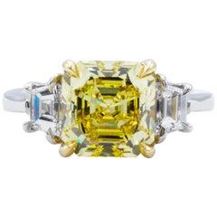 David Rosenberg 3.39 Carat Asscher Fancy Vivid GIA Three-Stone Diamond Ring