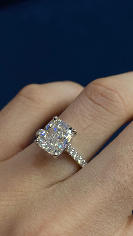 David Rosenberg 3.76 Carat Cushion E/VVS2 GIA Platinum Diamond Engagement Ring For Sale 9