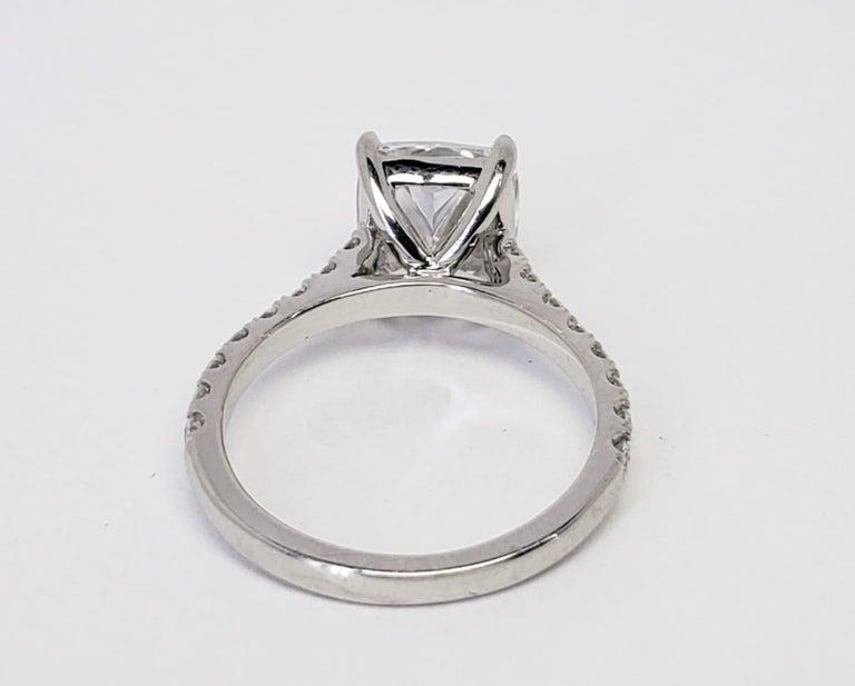 David Rosenberg 3.76 Carat Cushion E/VVS2 GIA Platinum Diamond Engagement Ring For Sale 4