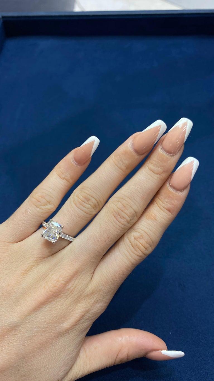 David Rosenberg 3.76 Carat Cushion E/VVS2 GIA Platinum Diamond Engagement Ring For Sale 8