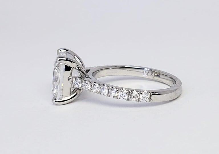 David Rosenberg 3.76 Carat Cushion E/VVS2 GIA Platinum Diamond Engagement Ring For Sale 5