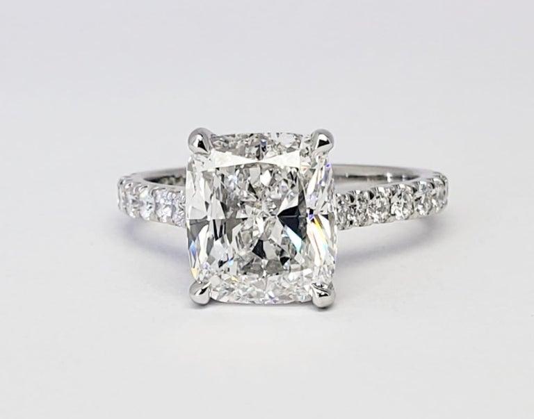 David Rosenberg 3.76 Carat Cushion E/VVS2 GIA Platinum Diamond Engagement Ring For Sale 6