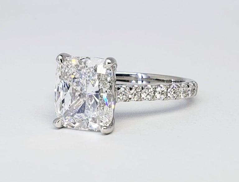 David Rosenberg 3.76 Carat Cushion E/VVS2 GIA Platinum Diamond Engagement Ring For Sale 2
