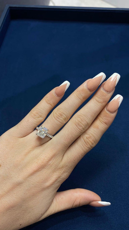 David Rosenberg 3.76 Carat Cushion E/VVS2 GIA Platinum Diamond Engagement Ring For Sale 7