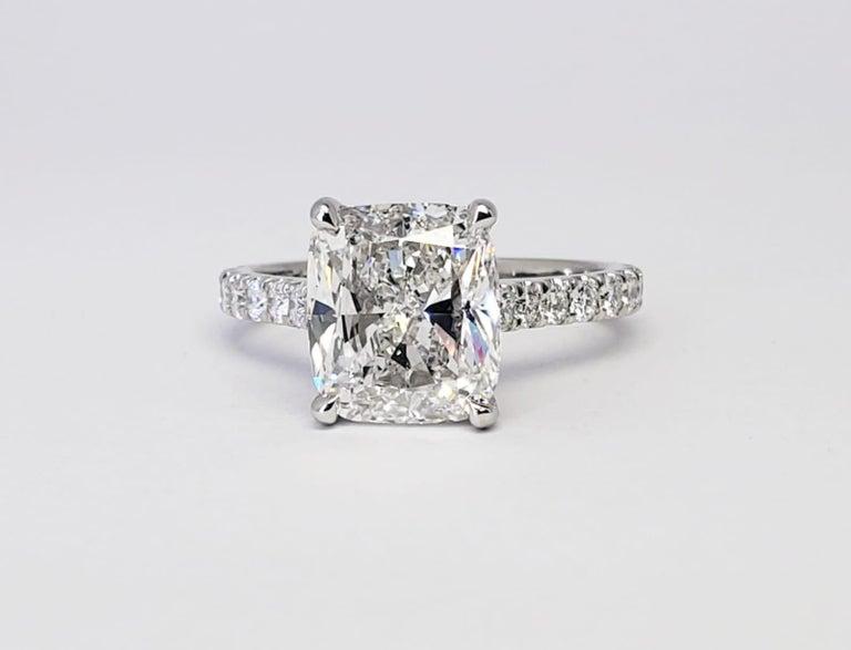 David Rosenberg 3.76 Carat Cushion E/VVS2 GIA Platinum Diamond Engagement Ring For Sale 3