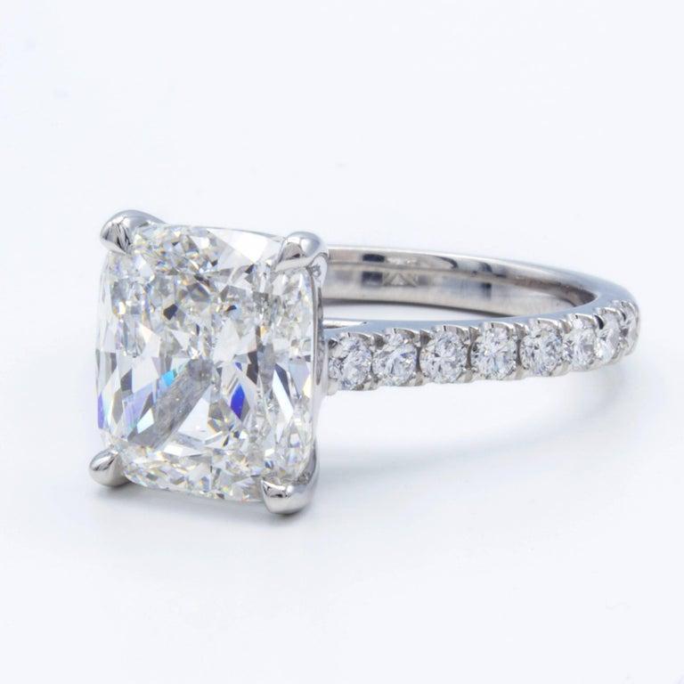 Modern David Rosenberg 3.76 Carat Cushion E/VVS2 GIA Platinum Diamond Engagement Ring For Sale
