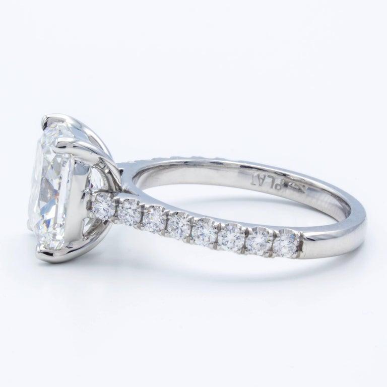 Cushion Cut David Rosenberg 3.76 Carat Cushion E/VVS2 GIA Platinum Diamond Engagement Ring For Sale