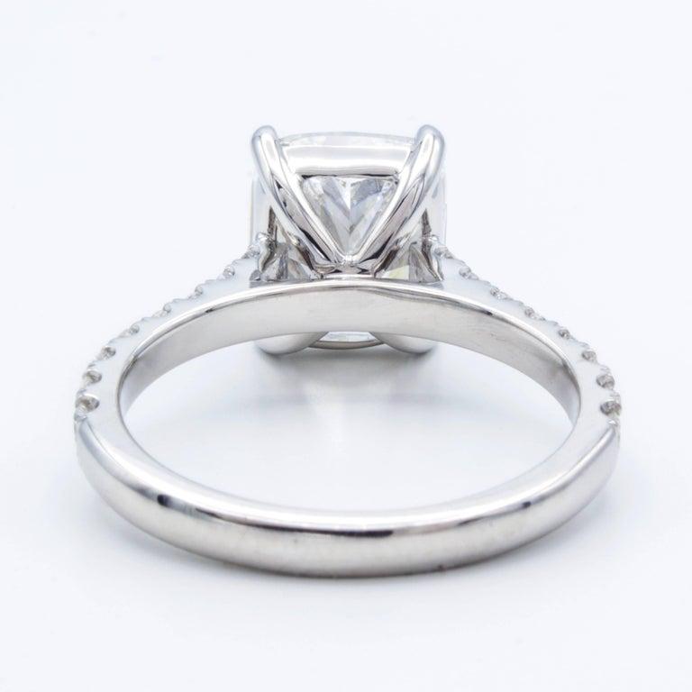 David Rosenberg 3.76 Carat Cushion E/VVS2 GIA Platinum Diamond Engagement Ring In New Condition For Sale In Boca Raton, FL
