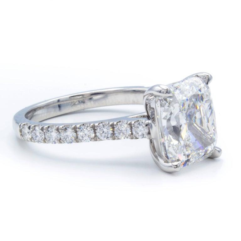 Women's David Rosenberg 3.76 Carat Cushion E/VVS2 GIA Platinum Diamond Engagement Ring For Sale