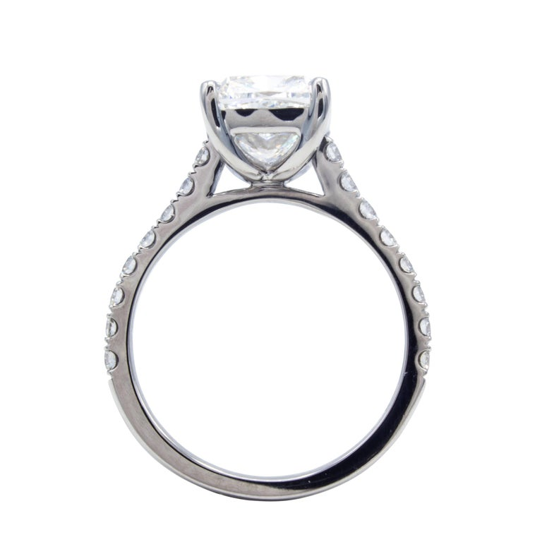 David Rosenberg 3.76 Carat Cushion E/VVS2 GIA Platinum Diamond Engagement Ring For Sale 1