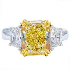David Rosenberg 3.81 Carat Radiant GIA FLY Three-Stone Diamond Engagement Ring