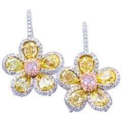 David Rosenberg 3.83 Total Carat Fancy Color Flower Diamond Earrings 18 Karat