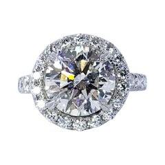 David Rosenberg 4.00 Carat Round Brilliant GIA Diamond Halo Engagement Ring
