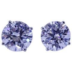 David Rosenberg 4.02 Total Carat Round E/VVS2 Triple Excellent GIA Diamond Studs