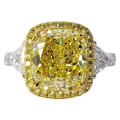 David Rosenberg 4.03 Ct Cushion Fancy Intense Yellow GIA Diamond Engagement Ring