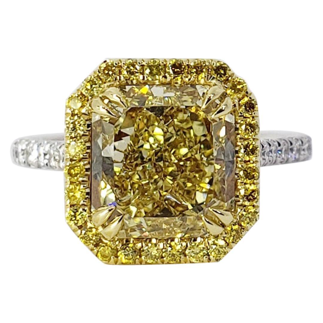 David Rosenberg 4.03 Ct Radiant FIY/VS2 GIA Halo Diamond Engagement Wedding Ring
