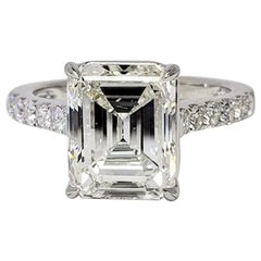 David Rosenberg 4.06 Carat Emerald Cut I/SI1 GIA Diamond Engagement Ring