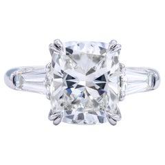 David Rosenberg 4.12 Carat Cushion Cut GIA Platinum Diamond Engagement Ring